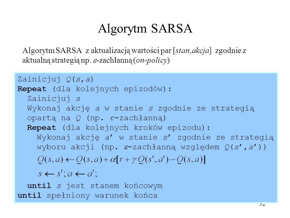 Algorytm SARSA Algorytm SARSA z aktualizacją wartości par [stan,akcja] zgodnie z aktualną strategią np. -zachłanną (on-policy)